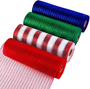Aneco 4 Rolls Christmas Decor Poly Mesh Ribbon 10 Inches x 30 Feet Metallic Foil Rolls 4 Colors Wine Red, Blue, Green, Red and White Stripes for Christmas Wreaths, Home Decoration, DIY Craft