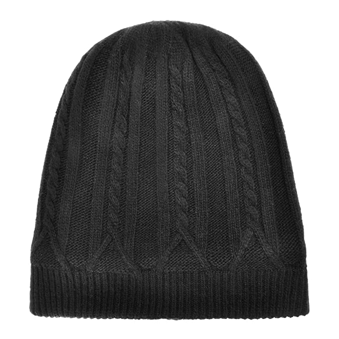 8b11f45643a ZLYC Unisex Winter Warm Cable Knit Cashmere Beanie Hat Skull Cap with  Fleece Lining