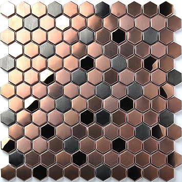 Amazon Hexagon Stainless Steel Brushed Mosaic Tile Rose Gold