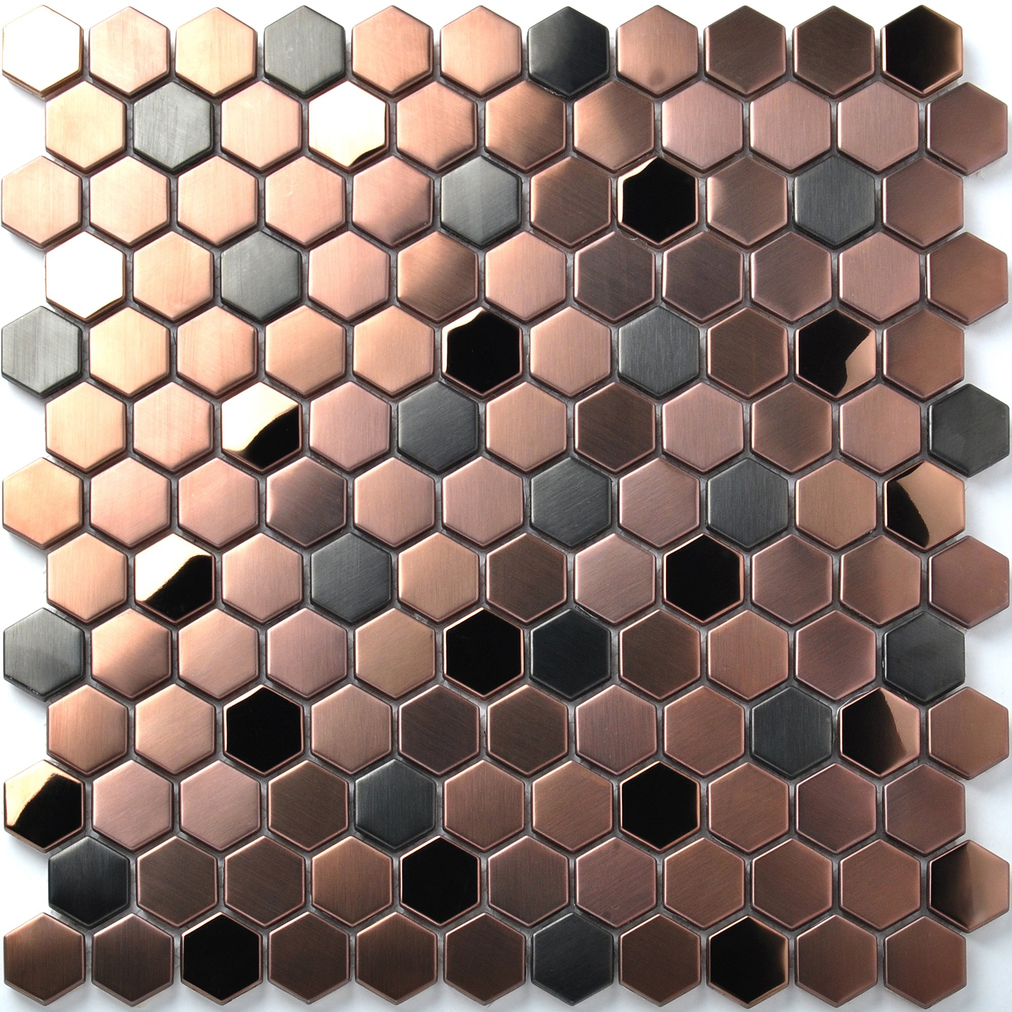 Hexagon Stainless Steel Brushed Mosaic Tile Rose Gold Black Bathroom Shower Floor Tiles TSTMBT021 (11 PCS [12'' X 12''/each])