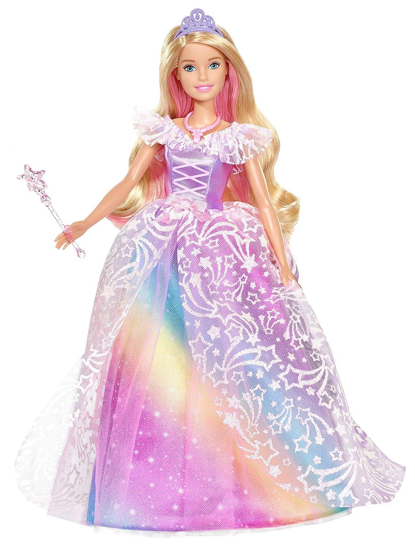 Barbie Dreamtopia poupée Princesse de Rêves avec robe brillante à motifs arc-en-ciel, fournie avec brosse et accessoires