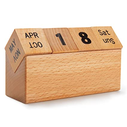 Amazon Com Natural Wood Perpetual Desk Calendar Cube With Month