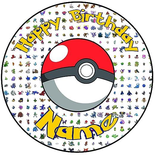 Decoración con diseño de Pokemon, de feliz cumpleaños, para ...
