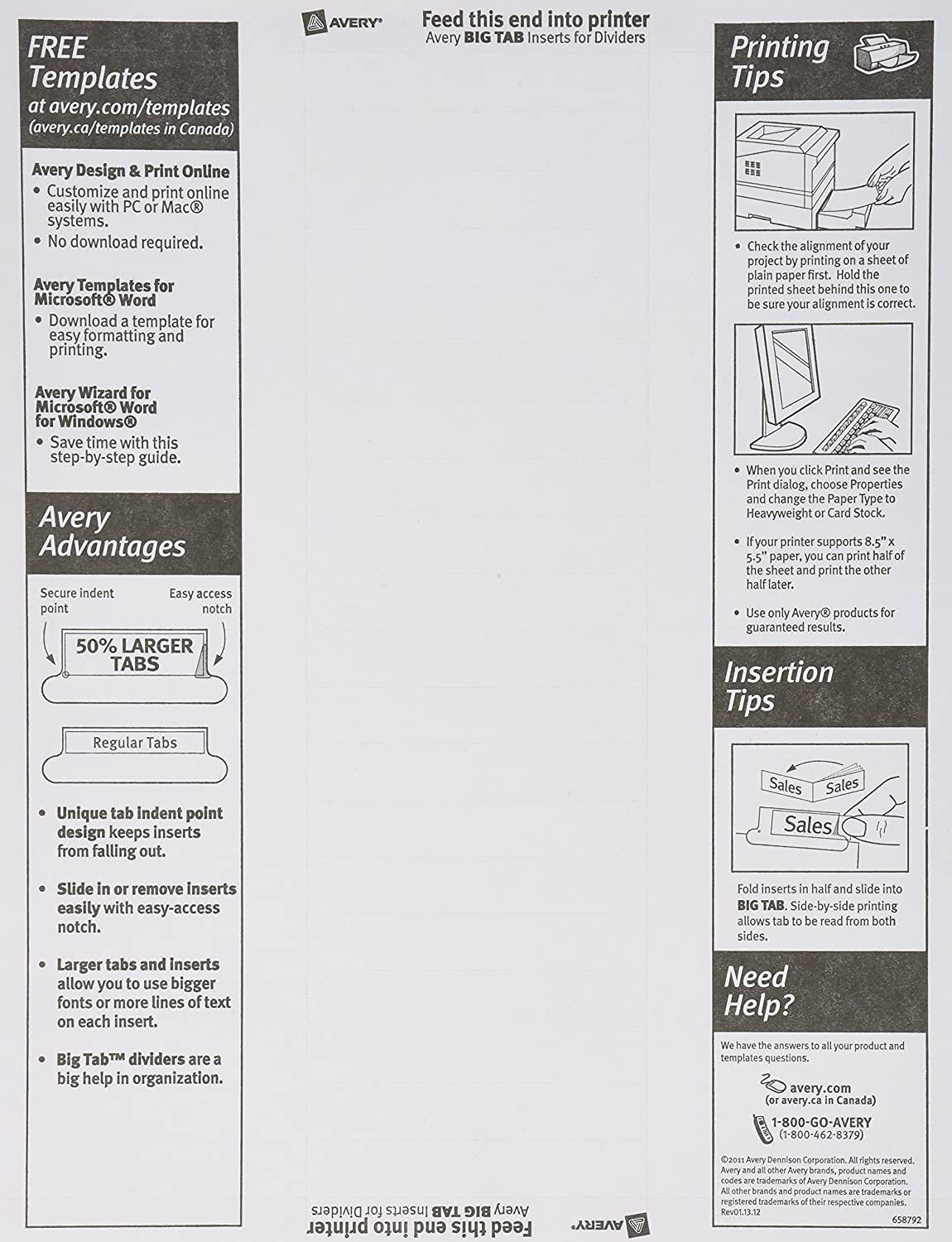 Avery Big Tab Insertable Dividers, Buff Paper, 8 Clear Tabs, 1 Set (11112)