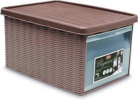 Stefanplast Elegance Caja con Apertura, Plástico, Gris ceniciento: Amazon.es: Hogar