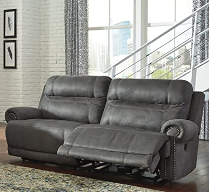 Austere Contemporary Gray Color Microfiber 2 Seat Reclining Sofa