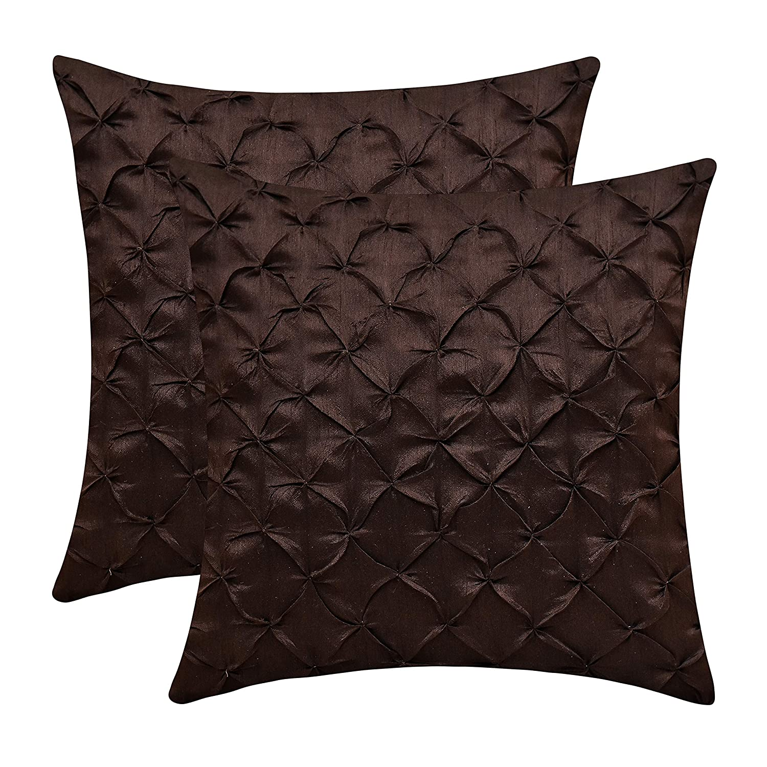 Dark Brown Throw Pillows.The White Petals Dark Brown Throw Pillow Covers Faux Silk Pinch Pleat 18x18 Inch Pack Of 2