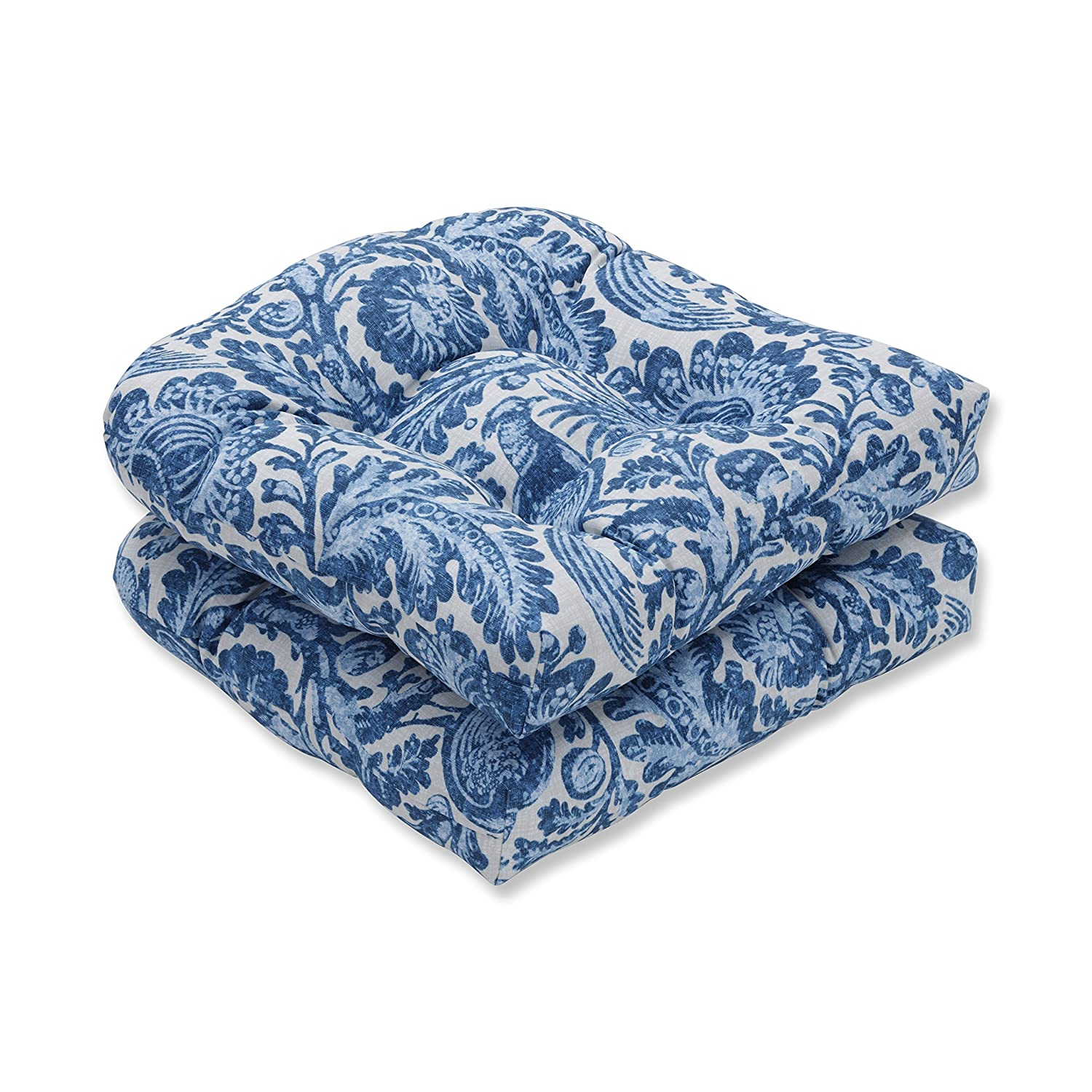 Pillow Perfect Outdoor Indoor Tucker Resist Azure Wicker Seat Cushion Set of 2 , Blue 19 X 19 X 5