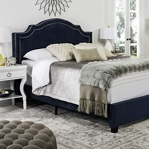 Safavieh Home Collection Theron Navy Velvet Nickel Nailhead Trim Queen Bed