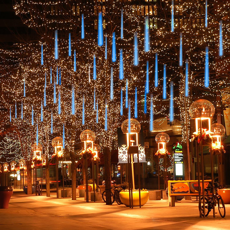 OMGAI LED Meteor Shower Rain Lights - Drop/Icicle Snow Falling Raindrop Waterproof Cascading lights for Wedding Xmas Home Decor Super Bright LED Chip - Blue