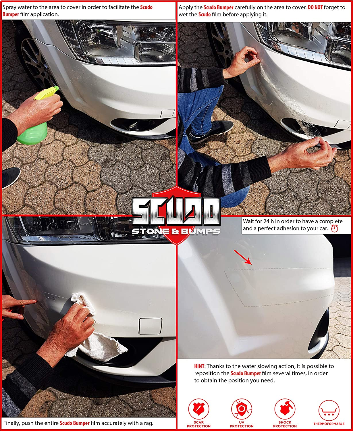 Transparent Thickness 0.8 mm 5 cm x 1.5 mt Quattroerre Adhesive Film Scudo Roll for Body Car Protection