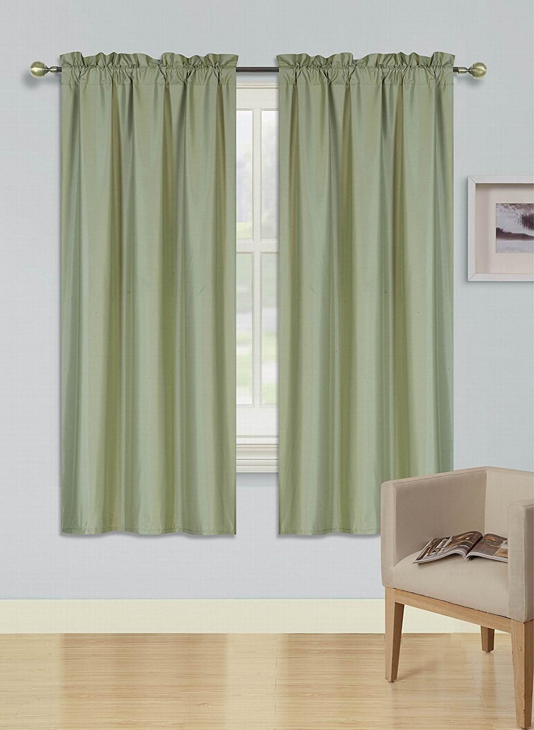1 Set Rod Pocket Insulated Thermal Lined Blackout Window Curtain R64 IVORY