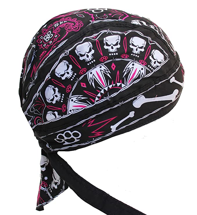 Amazon.com: Fitted Bandana Pink & Black Skull Fitted Du Rag ...