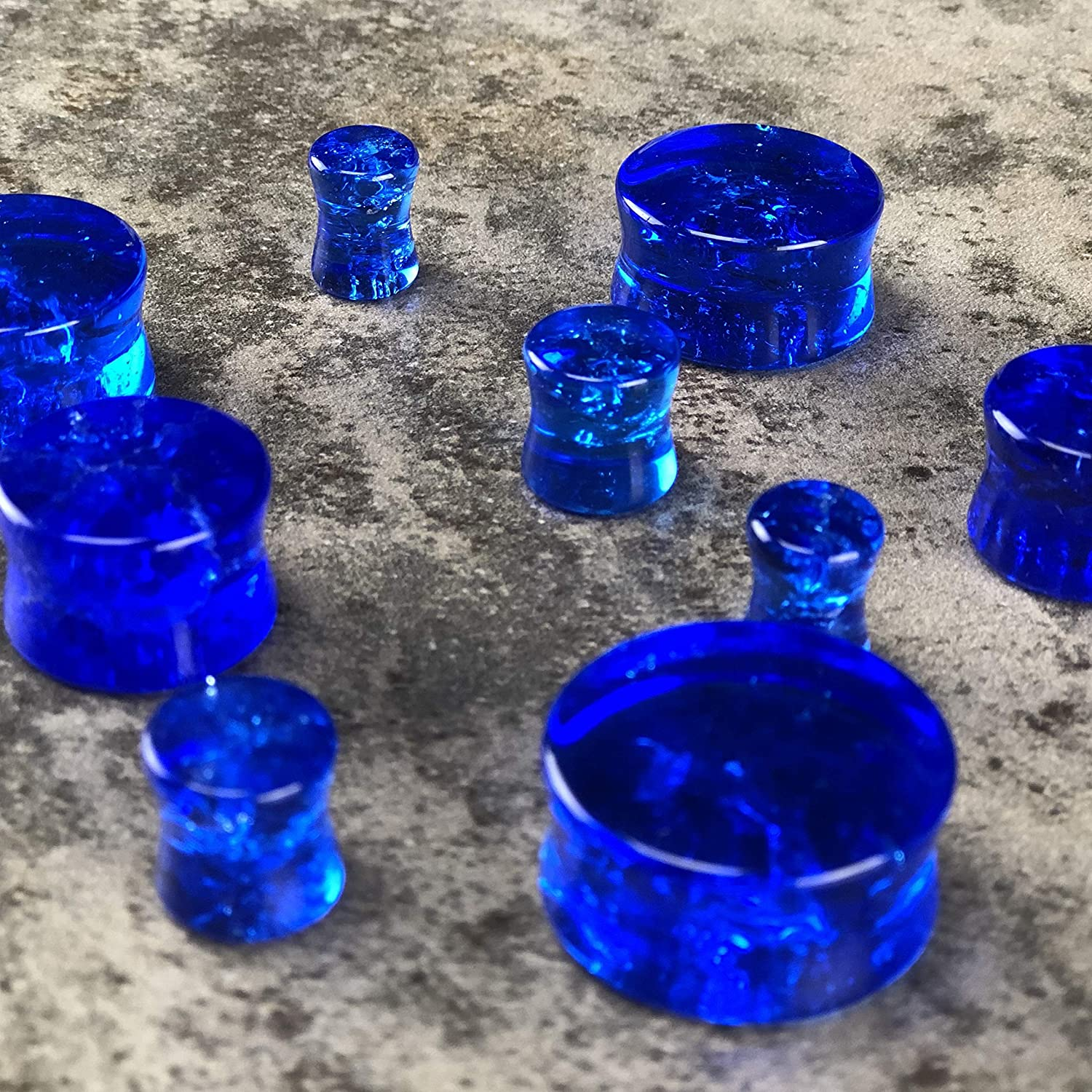 PG-526 Sold as a Pair Mystic Metals Body Jewelry Pair of Blue Crackle Glass Plugs