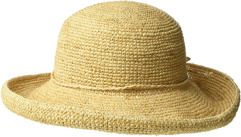 Scala Women's Crocheted Packable Raffia Hat