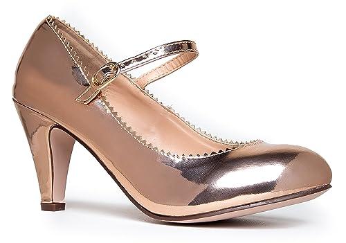 7d8dab8d6ff J. Adams Women s Mary Jane Kitten Heel 9 M US Rose Gold Pu  Buy ...