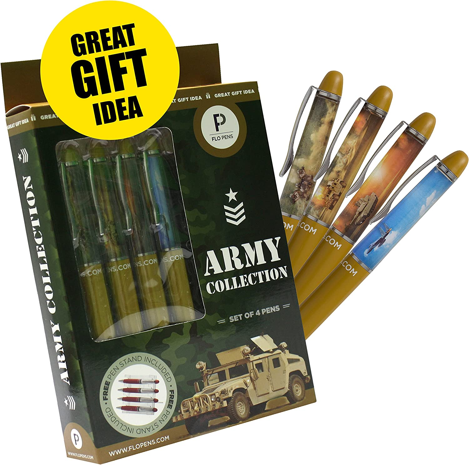 London Souvenir Gift Set Collection Of 4 Custom Designed British Action Floating Pens With Free Pen Display Stand
