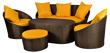 furnifuture familia cane furniture outdoor patio sofa set with
