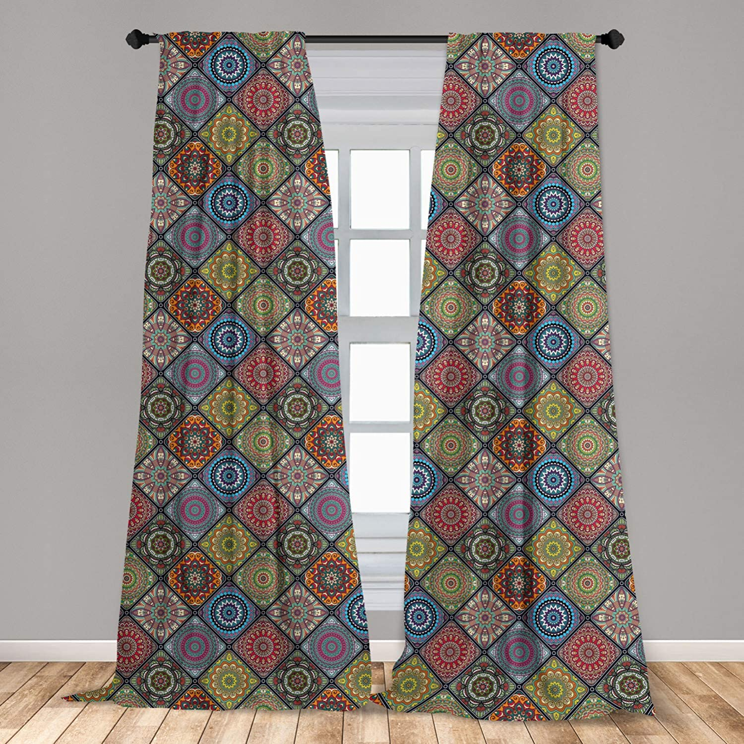 Ambesonne Mandala Curtains, Checkered Rectangles Pattern Various Oriental Inspired Motifs Culture, Window Treatments 2 Panel Set for Living Room Bedroom Decor, 56