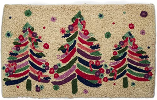 Tag Snowfall Snowflakes Holiday Winter Coir Doormat Indoor Outdoor Welcome Mat 1 6 x 2 6 Multicolored