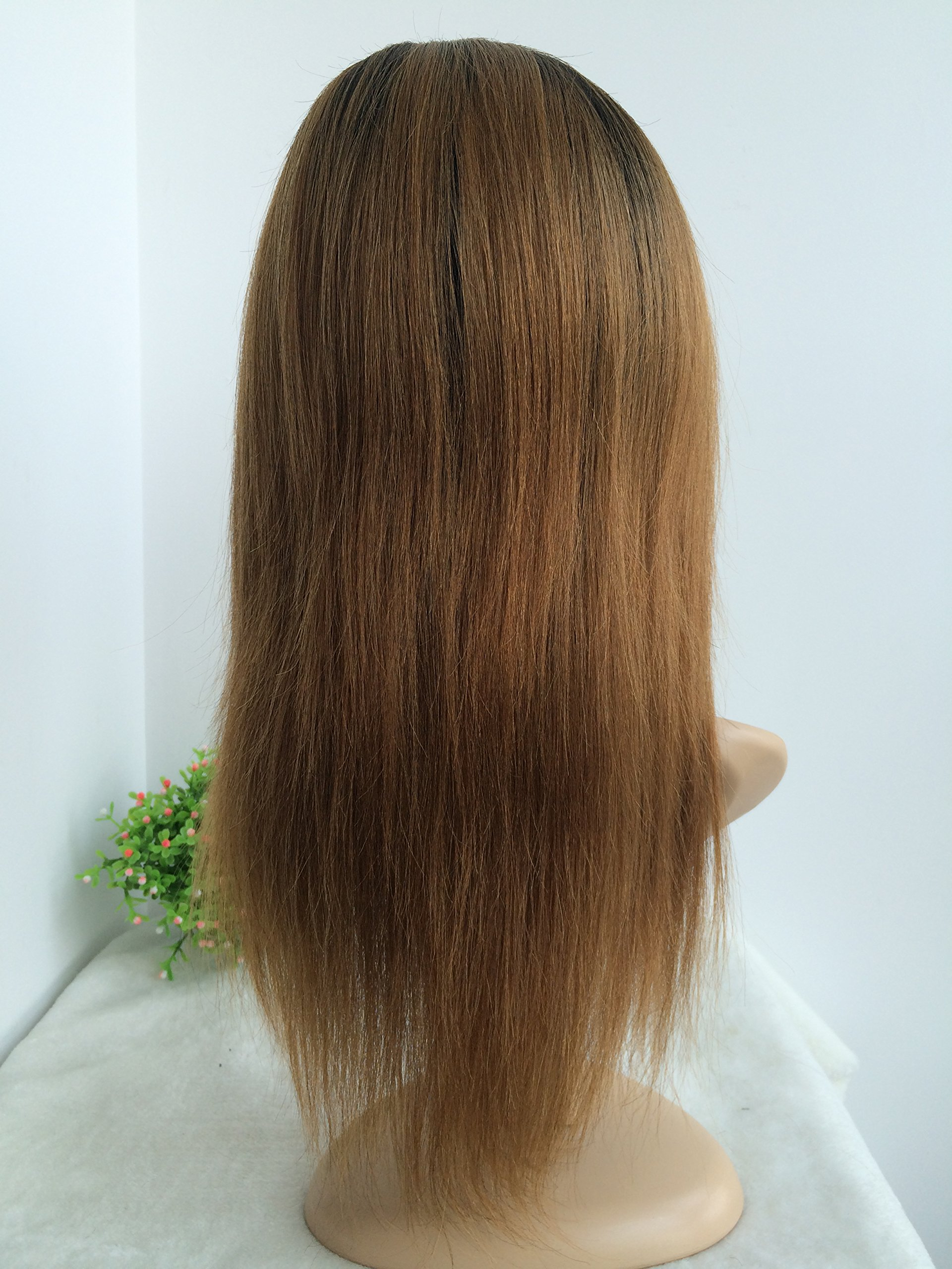 CHINESE VIRGIN HAIR,14 INCH,LIGHT YAKI FULL LACE WIGS SILK TOP BLEACHED KNOTS