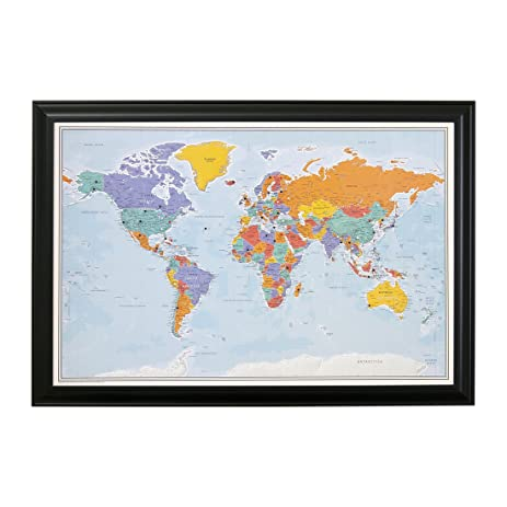 Amazon push pin world travel map with black frame and pins push pin world travel map with black frame and pins blue oceans 24 x 36 gumiabroncs Images