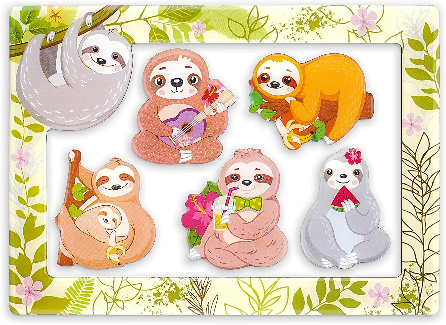 """Morcart 6-in-1 Fridge Magnets and 4""""x 6"""" Magnetic Photo Frame Set 5pcs Sloth Refrigerator Magnets, Best Gift Choice (Sloth Magnets)"""