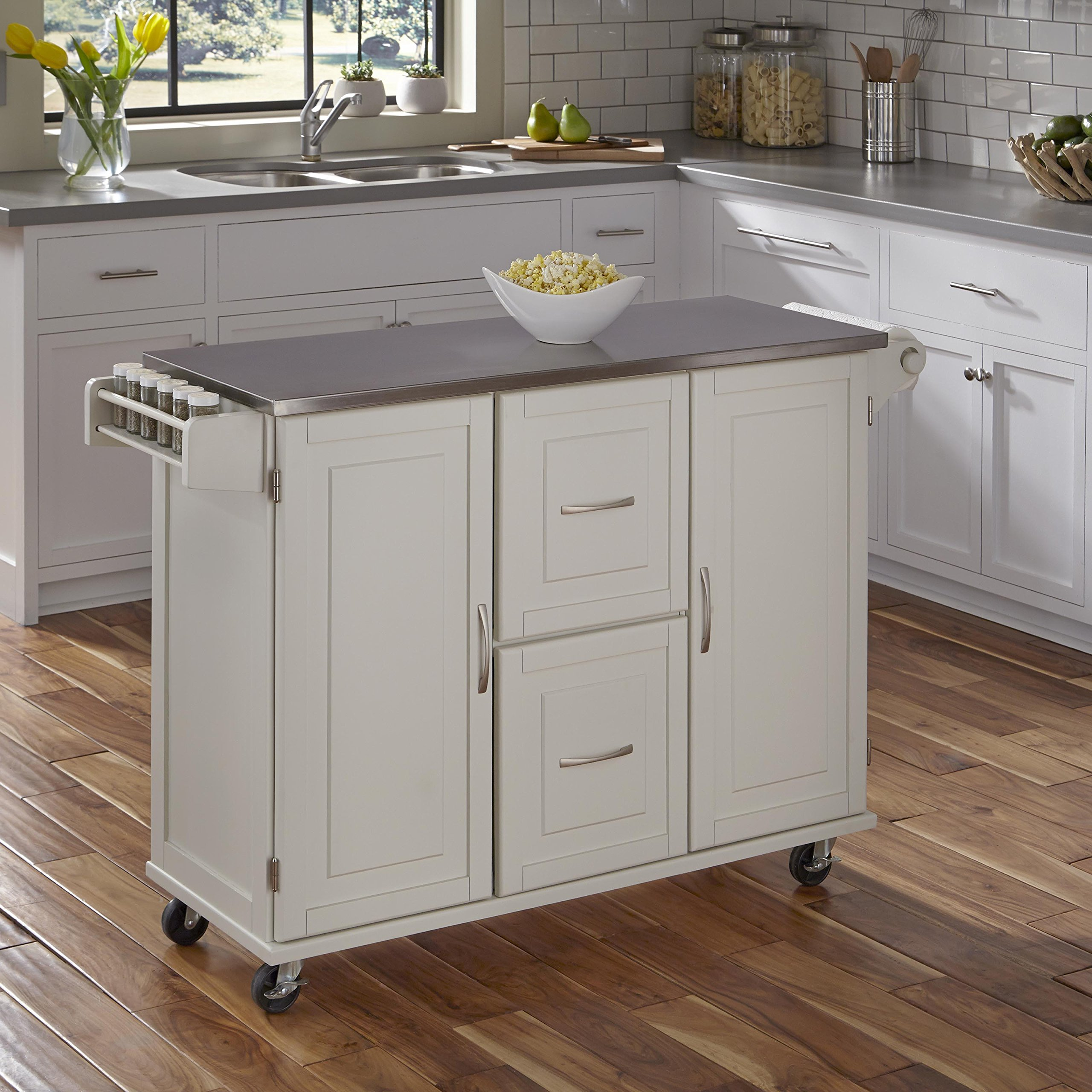 Patriot White Kitchen Cart with Stainless Steel Top by Home Styles
