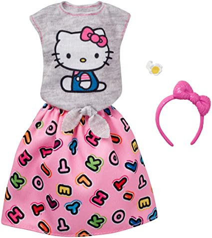 e7b9640d0 Amazon.com: Barbie Fashions Hello Kitty Gray Top & Pink Skirt: Toys ...