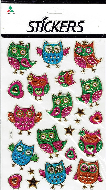 3D Búhos búho Aves Animales Colorido calcomanía Etiqueta 1 Hoja Dimensiones: 23 cm x 15 cm: Amazon.es: Juguetes y juegos