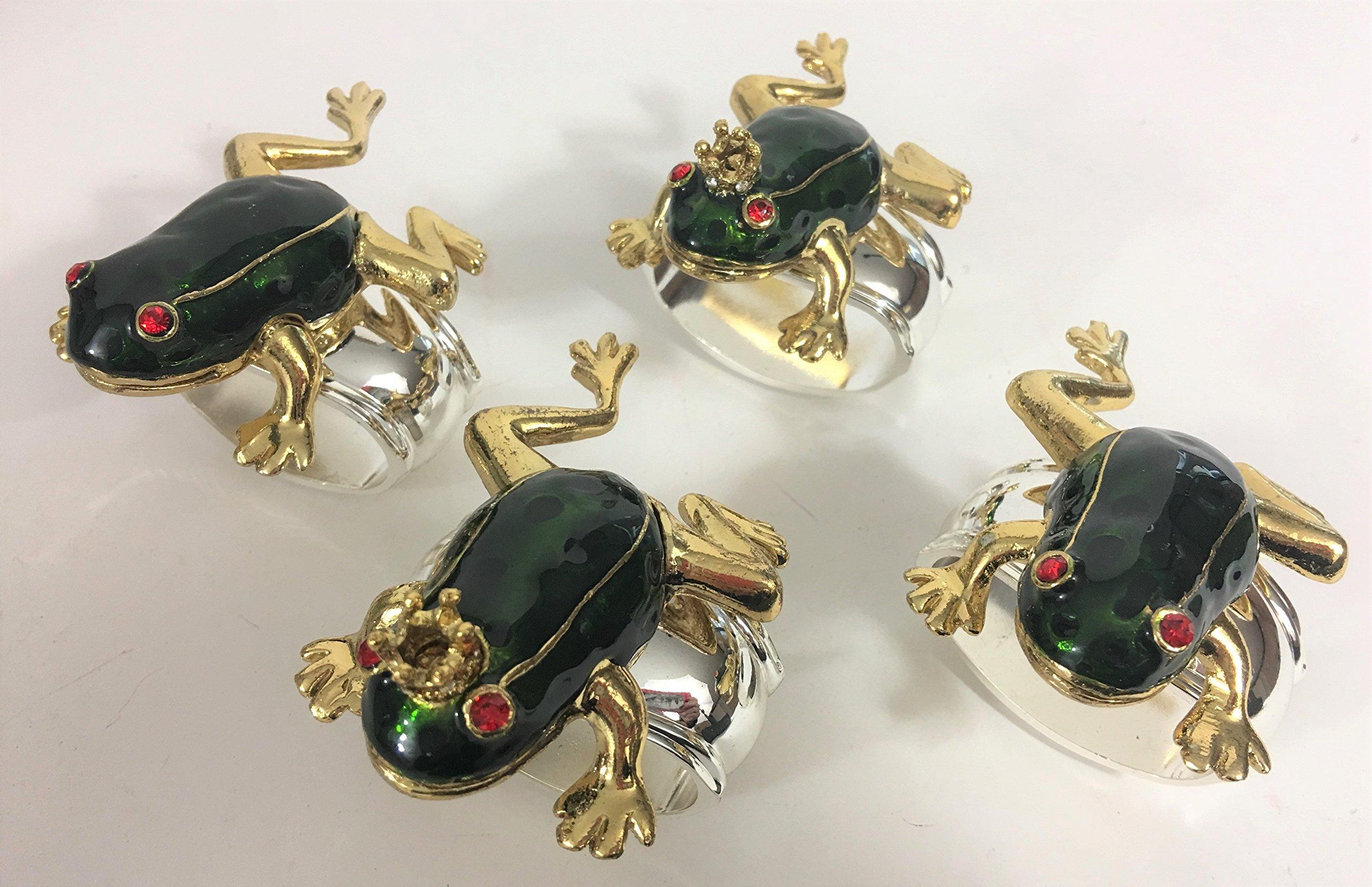 Turnwald Frog Prince Napkin Ring Holder Set 4 Enamel Jewels Crown