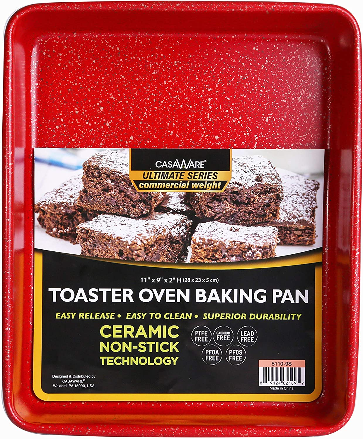 casaWare 11 x 9 x 2-inch Toaster Oven Ultimate Series Commercial Weight Ceramic Non-Stick Coating Baking Pan (Red Granite)