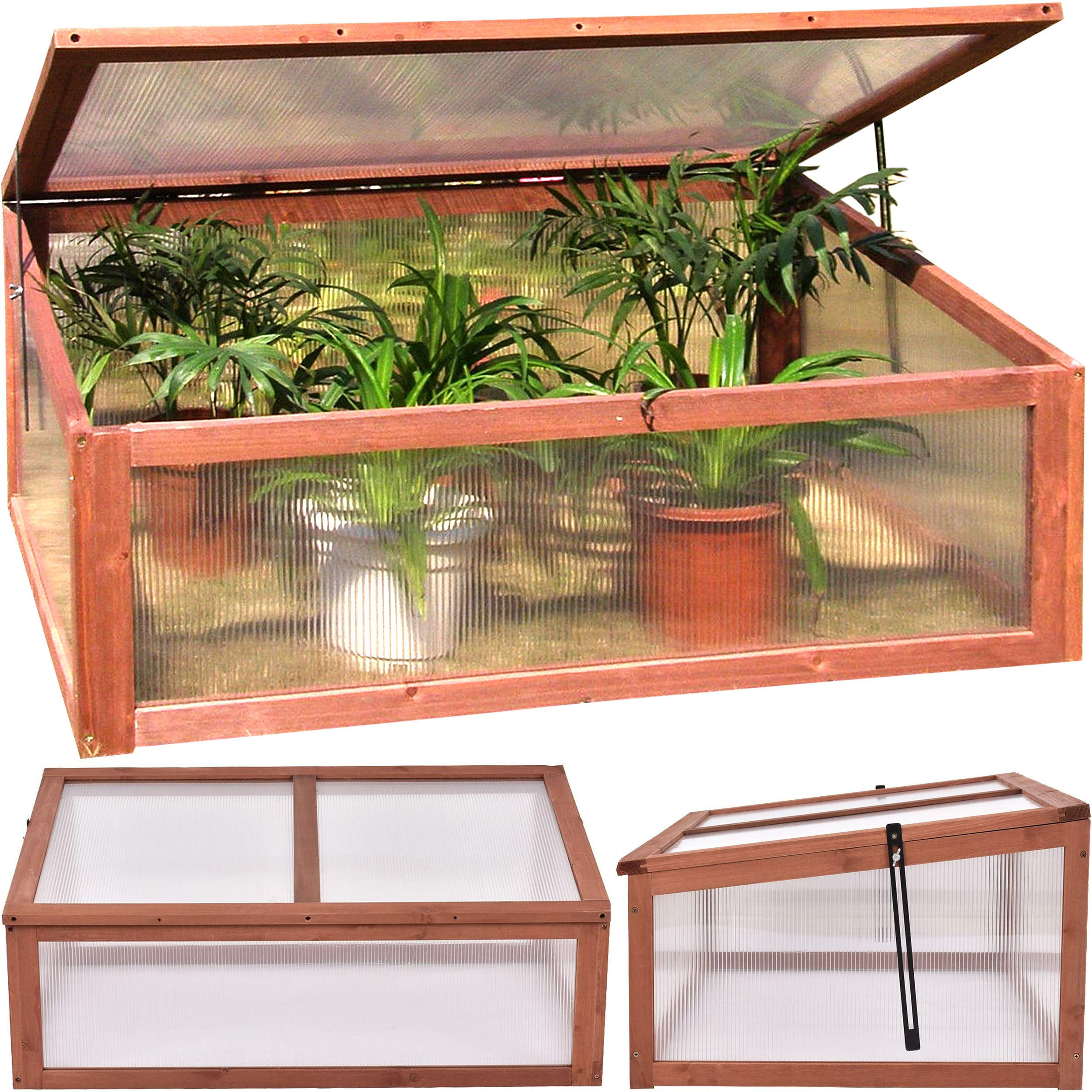 Garden Portable Wooden Greenhouse Cold Frame for Raised Flower Planter Protection 39.5'' Long x 25'' Wide x 15'' High