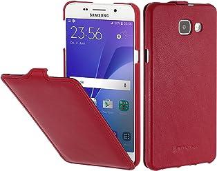 StilGut UltraSlim Case, Custodia in Pelle per Samsung Galaxy A3 (2016), Rosso Nappa