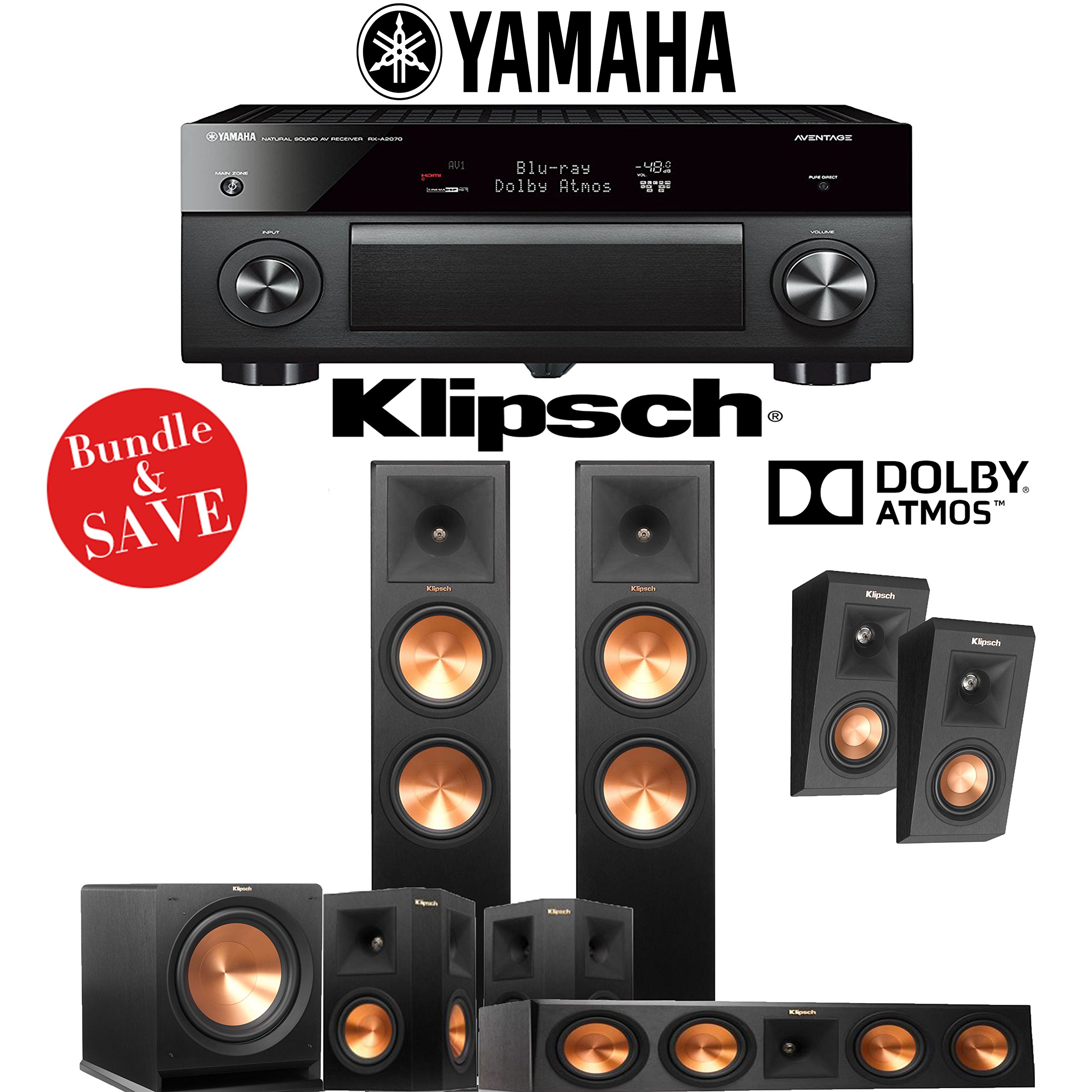Klipsch RP-280F 5.1.2-Ch Reference Premiere Dolby Atmos Home Theater System with Yamaha AVENTAGE RX-A2070BL 9.2-Channel Network AV Receiver