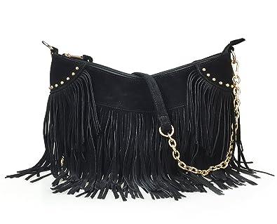 96a7ede1f065 Amazon.com  Hoxis Tassel Faux Suede Leather Hobo Cross Body Chain Shoulder Bag  Women s Satchel (Black)  Shoes