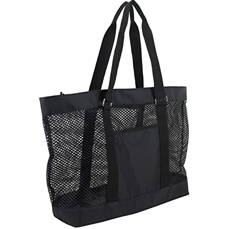 ea0ec38b7 Amazon.com | Eastsport Mesh Tote Beach Bag, Black | Travel Totes