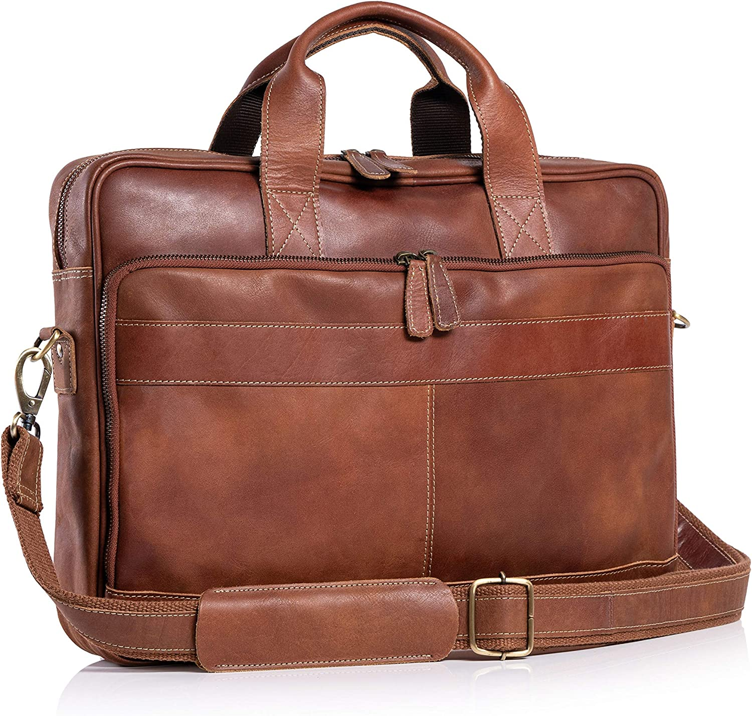 KomalC 16 Inch Leather briefcases Laptop Messenger Bags for Men and Women Best Office School College Satchel Bag