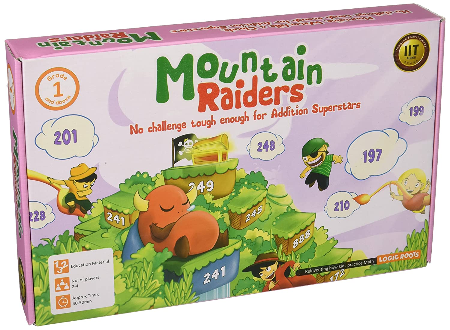Logic Roots Mountain Raiders Board Game with Addition of 3 digit numbers Stem Toy Math Resource