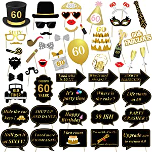 60th Birthday Party Photo Booth Props (51Count) for Her Him 60th Birthday Gold and Black Decorations, Konsait Big 60 Birthday Party Supplies for Men ...