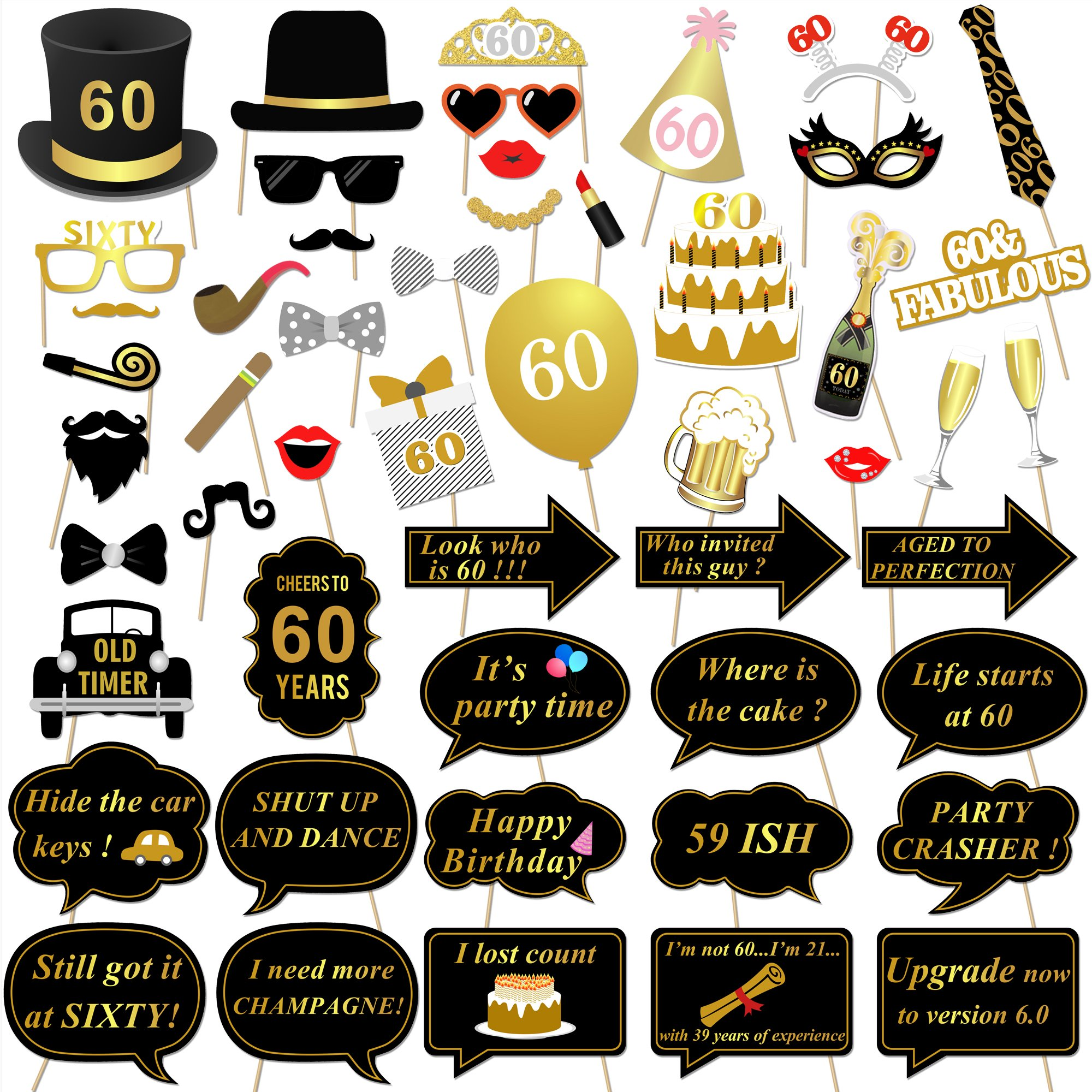 Konsait 60th Birthday Party Photo Booth Props (51Count) for Her Him 60th Birthday Gold and Black Decorations, Big 60 Birthday Party Supplies for Men and Women by Konsait
