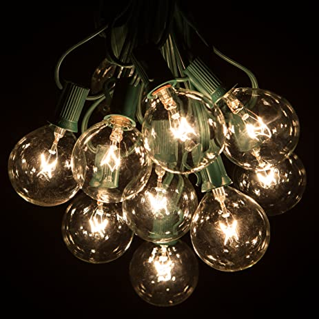 25 Foot G50 Patio Globe String Lights With 2 Inch Clear Bulbs For Outdoor  String Lighting