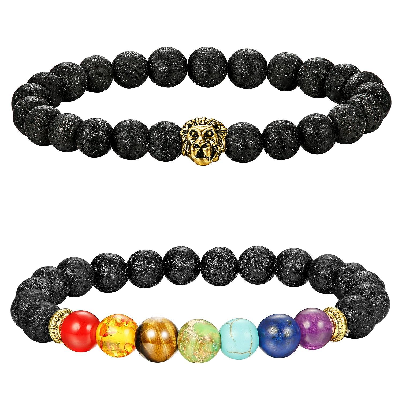 c494b837e0 Amazon.com  LOLIAS 2 Pcs Lava Rock Chakras Bracelet for Men Women Natural  Stone Yoga Bracelet Essential Oil Bead 8MM 2S  Jewelry
