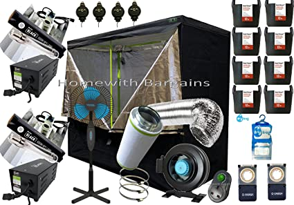 "Best Complete Grow Tent Full Setup 2.4m Grow 6/"" Fan Filter 2x 600w Light Kit"