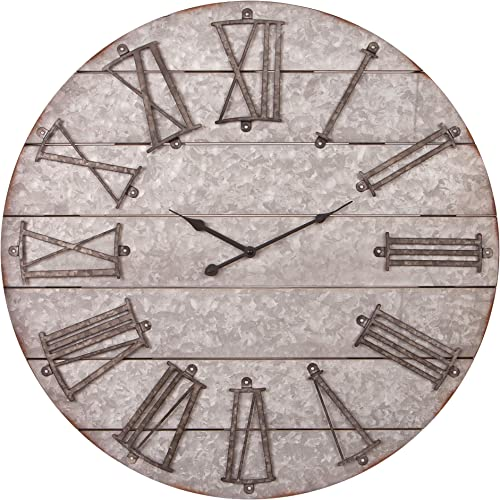 28″ Rustic Galvanized Metal Planked Frameless Wall Clock