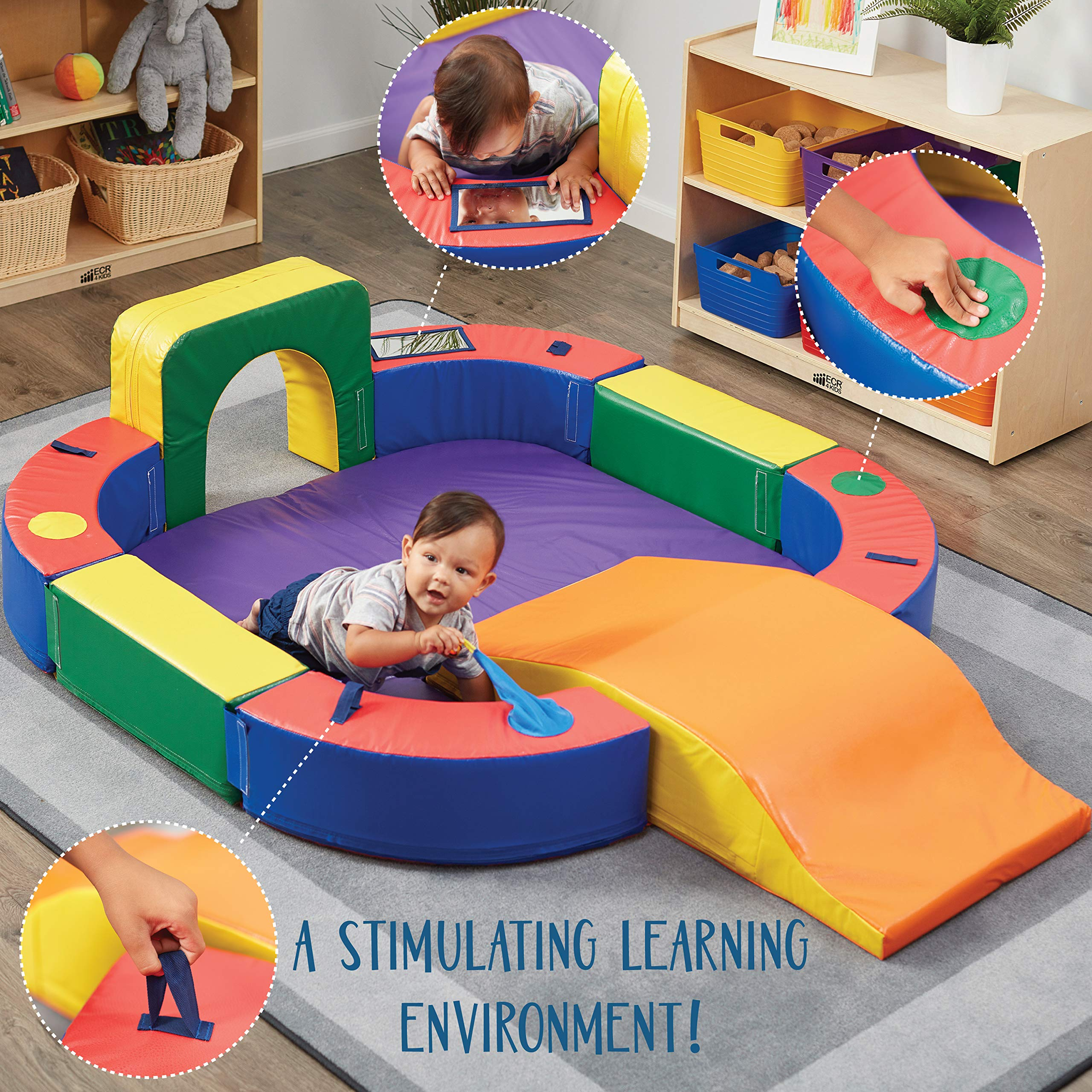 ECR4Kids SoftZone Discovery Center with Tunnel and Slide Playset, Assorted by ECR4Kids (Image #3)