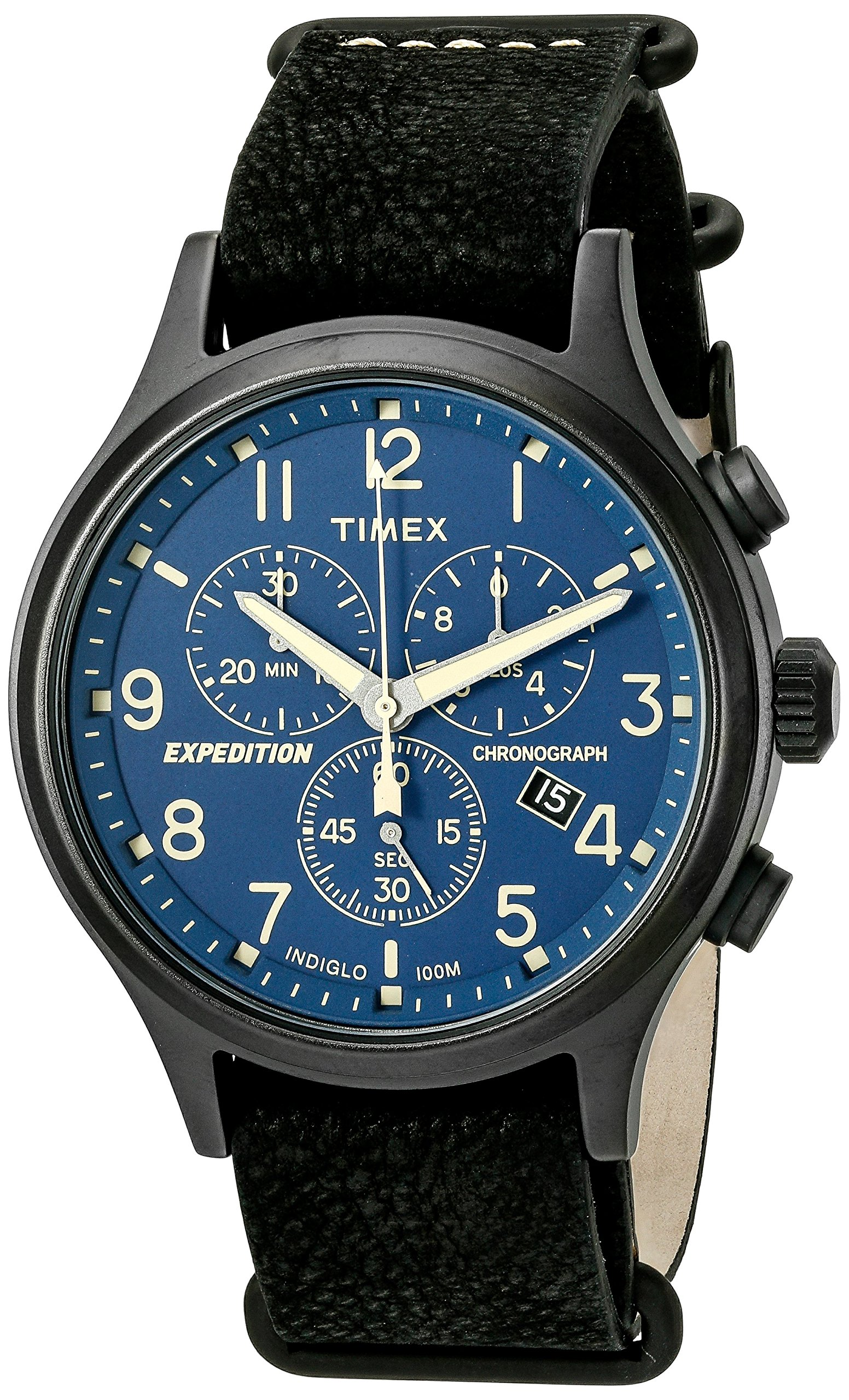 e62a1eb26 Galleon - Timex Men's TW4B04200 Expedition Scout Chrono Black/Blue Leather  Slip-Thru Strap Watch