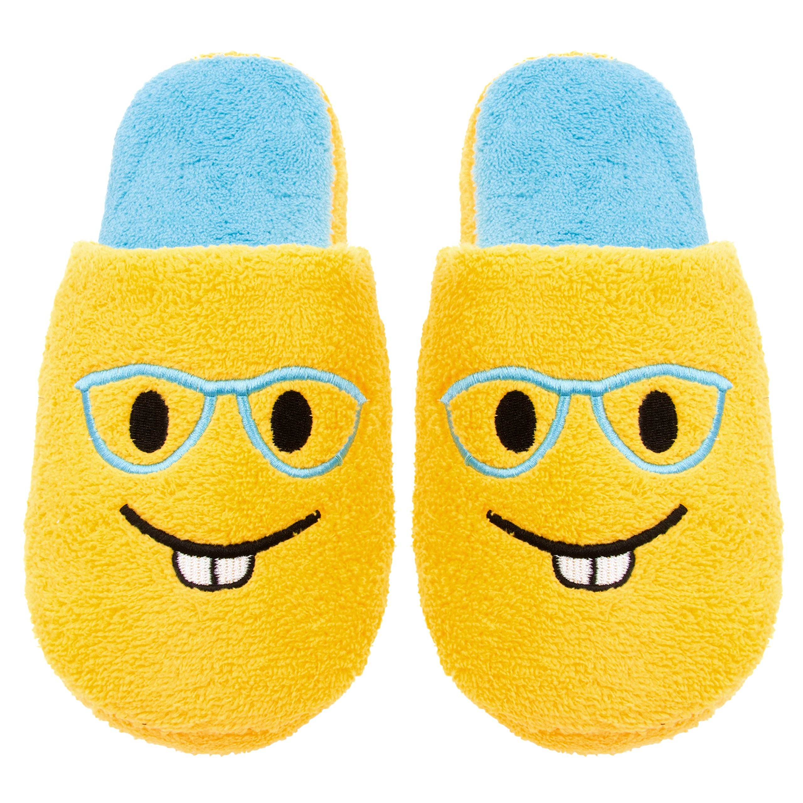Chatties Ladies Terry Cloth Slip On Embroidered Novelty, Bedroom Slippers, 9/10, Bucktooth Glasses
