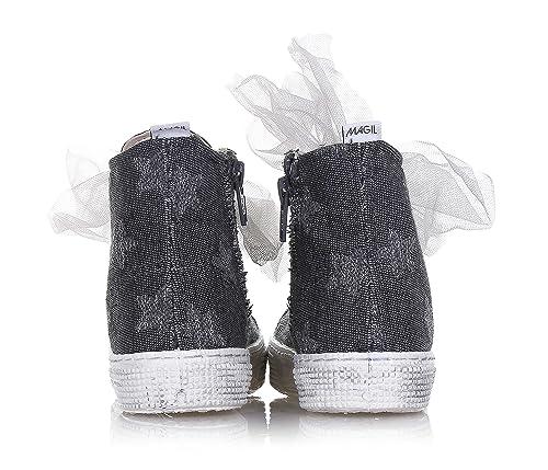 MAGIL - Sneaker à lacets grise en tissu avec des petites étoiles ton-sur-ton en tissu lamé, Fille, Filles, Femme, Femmes-34