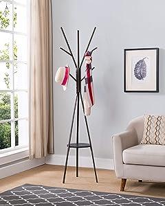 Kings Brand Furniture - Raleigh Metal 9-Hook Hall Tree Free Standing Coat Rack Stand, Brown